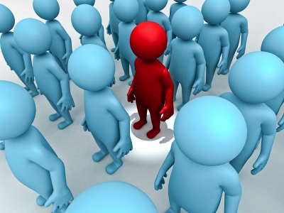 Guy in the red is a 'one voice' guy and, thus, stands out from the crowd. image source: Master isolated images/ FreeDigitalPhotos.net
