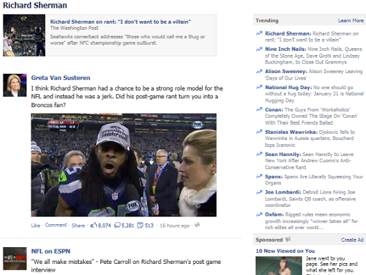 Facebook Trending Topic Page